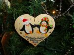 Penguin Man Lady Couple Wooden Christmas Heart Hanger Decoration Personalised Any Names Unique OOAK